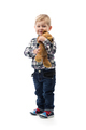 three year old boy with a toy bear on white background - PhotoDune Item for Sale