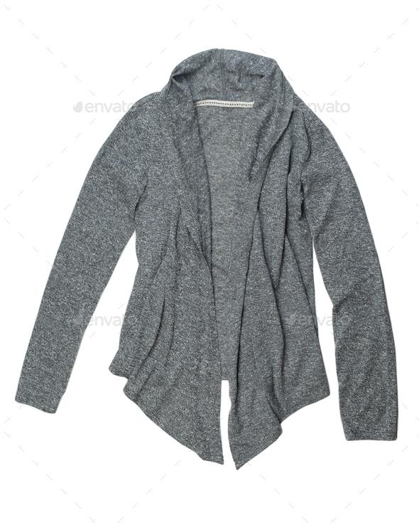 Fashionable gray wool cardigan. - Stock Photo - Images