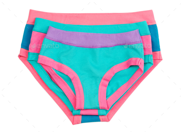 Three female colored Cotton panties. - Stock Photo - Images