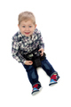 three-year boy sitting on a white background - PhotoDune Item for Sale