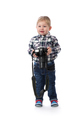 three-year boy with a camera in hand in the studio. - PhotoDune Item for Sale