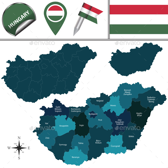 Map of Hungary - Travel Conceptual