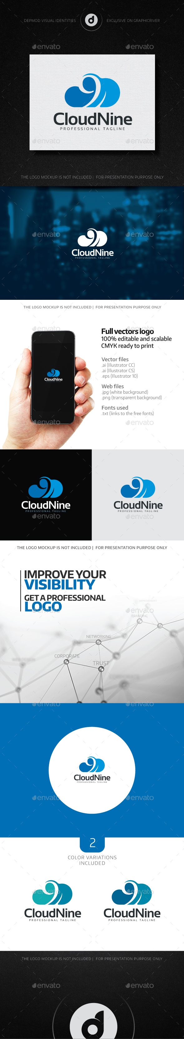 Cloud Nine Logo - Numbers Logo Templates