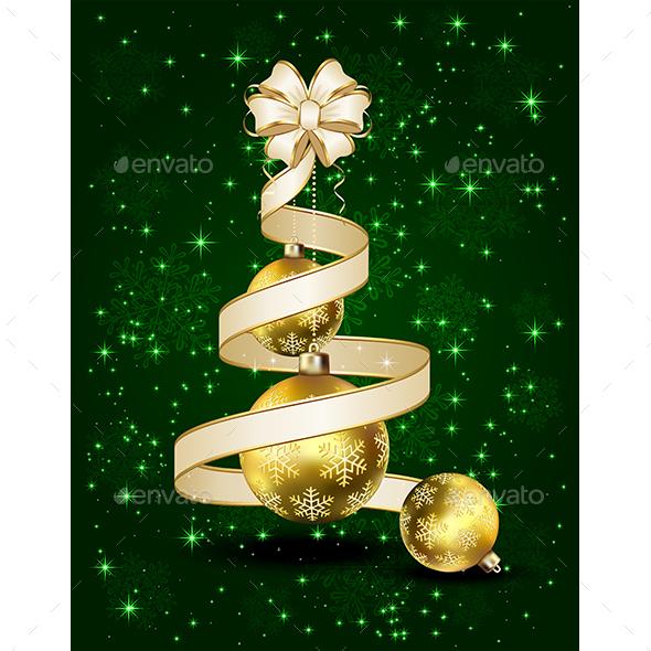 Christmas Balls with Ribbon and Bow - Christmas Seasons/Holidays