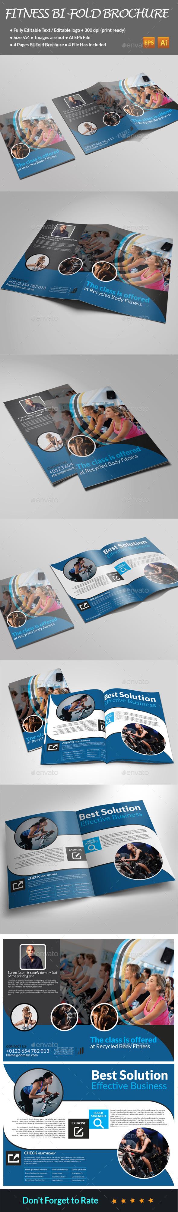 Fitness Bi-Fold Brochure  - Brochures Print Templates