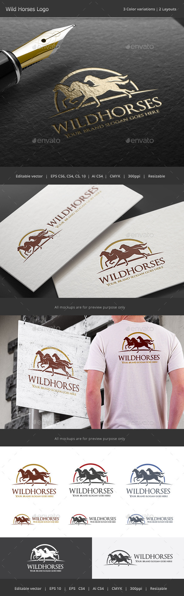Wild Horses Logo - Animals Logo Templates