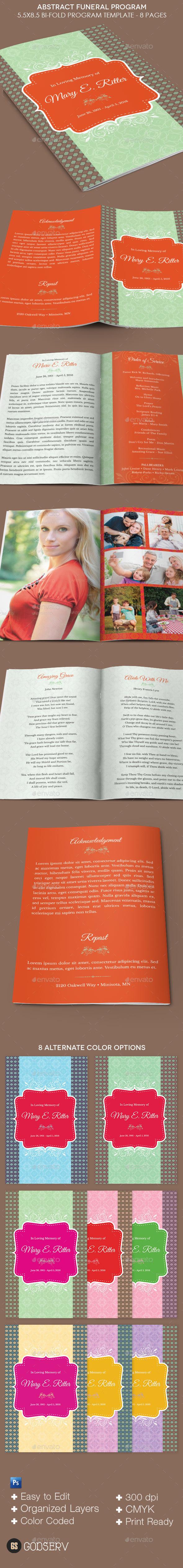 Abstract Funeral Program Template - Informational Brochures