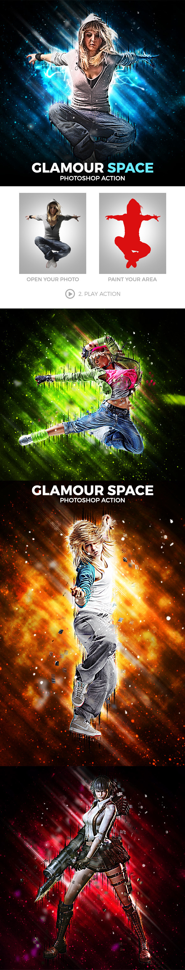 Glamour Space Photoshop Action - Photo Effects Actions
