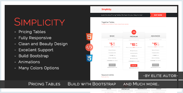 Simplicity - Simple & Original Pricing Tables - CodeCanyon Item for Sale