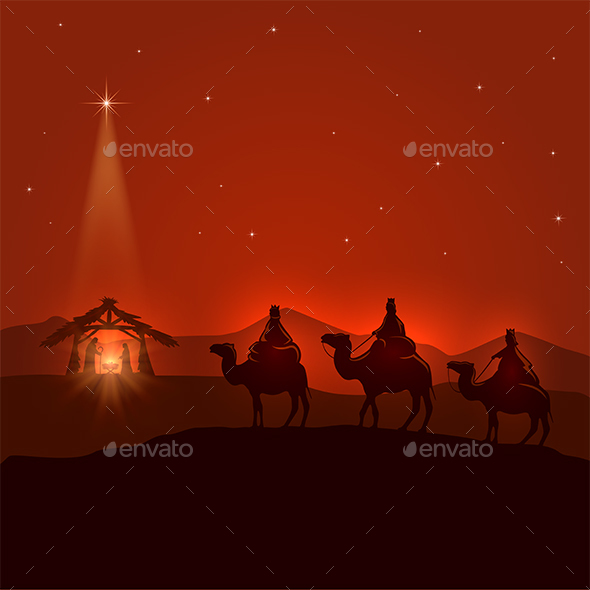 Night Background with Christian Christmas Scene - Christmas Seasons/Holidays