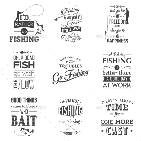 Set of Vintage Fishing Typographic Quotes - Food Objects