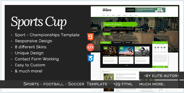 Sports Cup - Bootstrap 3 Sporting HTML Template