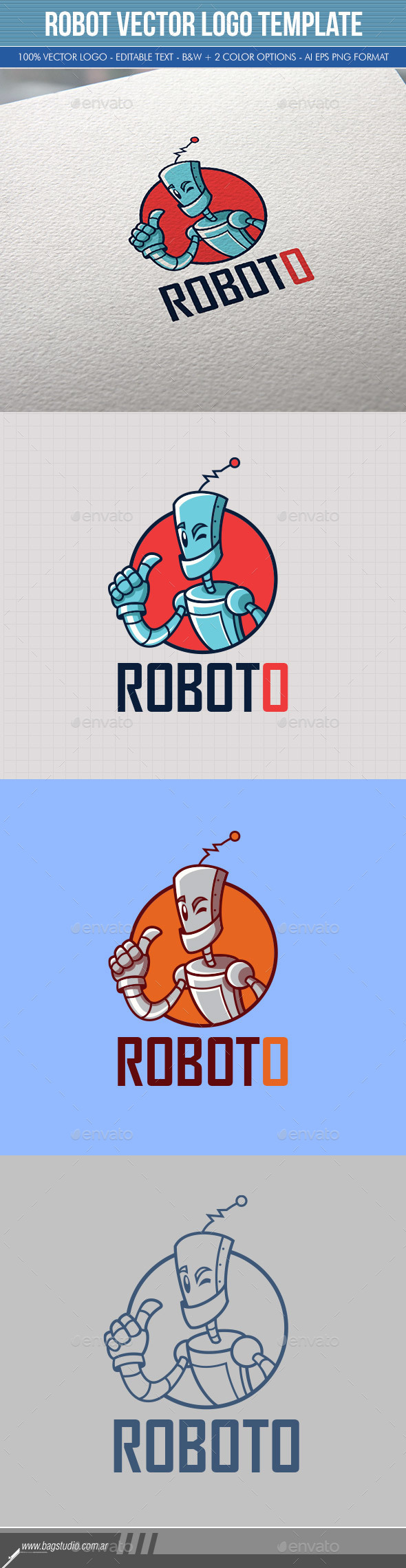 Robot Vector Logo Template - Objects Logo Templates