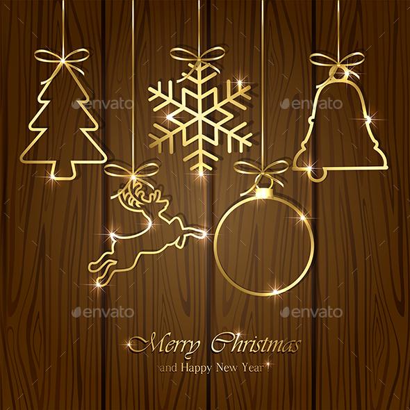 Christmas Elements on Wooden Background - Christmas Seasons/Holidays