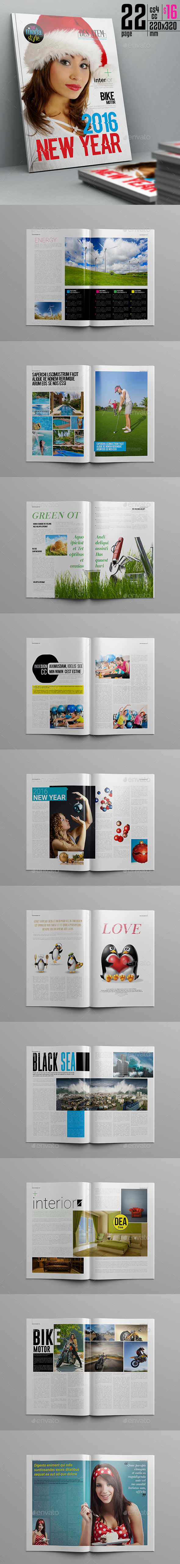 New Year Magazine Template 22 Page - Magazines Print Templates