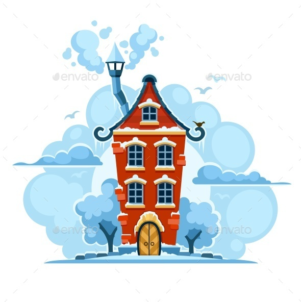 Winter Fairy-Tale House in Snow with Clouds - Man-made Objects Objects