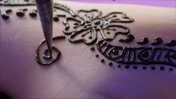 Mehndi Tattoo Flower Designs : Flower design henna tattoo on a girls arm by nordicstocks videohive