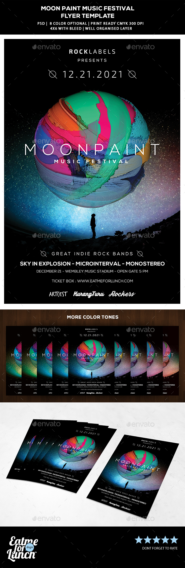 Abstract Music Festival Flyer - Moon Paint - Concerts Events