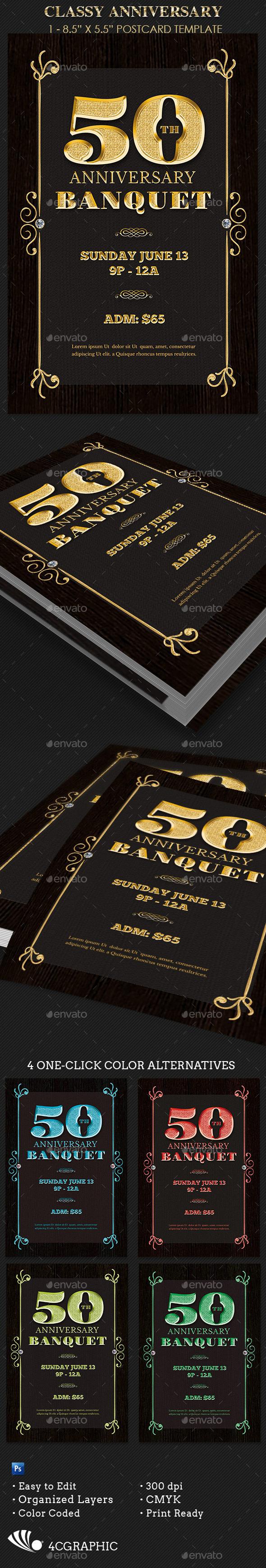 Golden Anniversary Banquet Flyer Template - Events Flyers