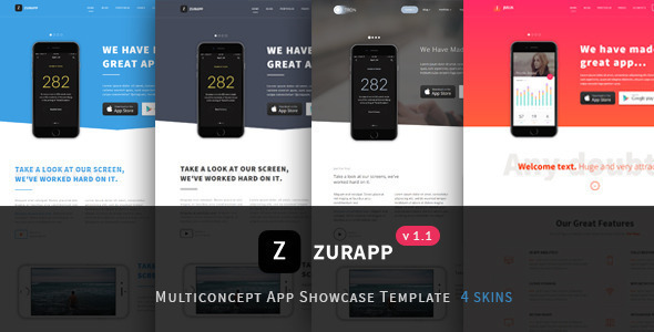 ZurApp - Multiconcept App Showcase Joomla Template