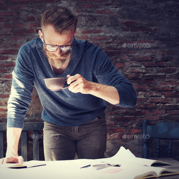 Man Working Home Office Start up Ideas Concept - Stock Photo - Images