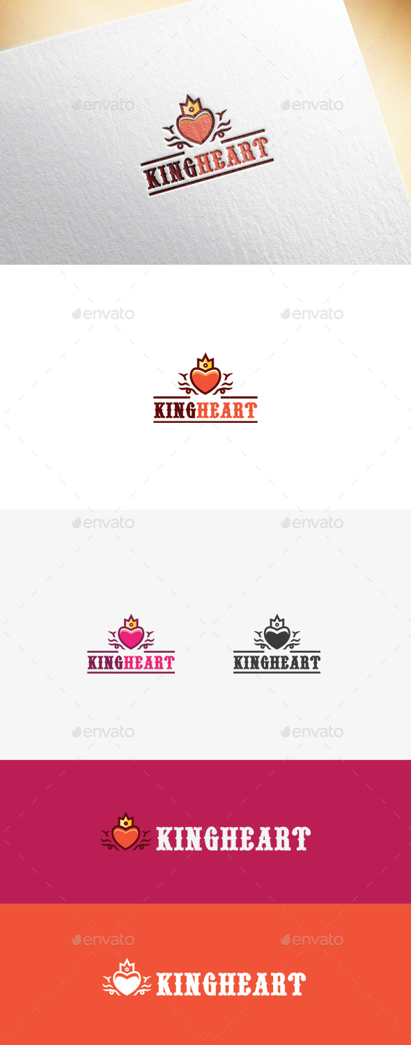 King Heart Logo Template - Objects Logo Templates