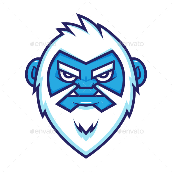 Yeti Head Vector Illustration - Monsters Characters