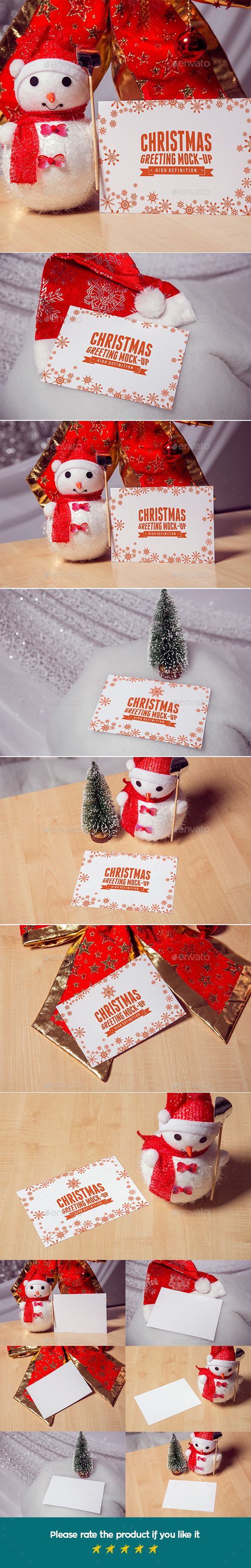 Photorealistic Christmas greeting Mock-Up.  - Print Product Mock-Ups