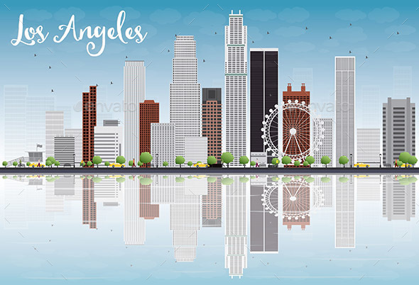 Los Angeles Skyline with Grey Buildings - Buildings Objects