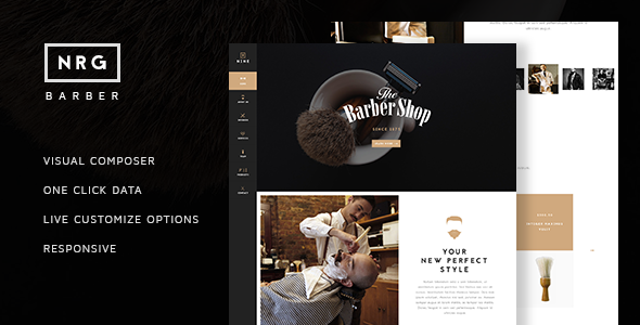 NRG Barber Shop – One Page Theme For Hair Salon