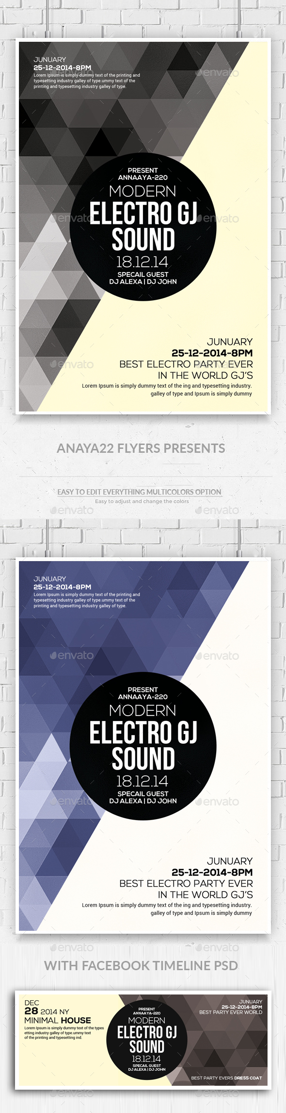 Geometric Flyer with Facebook Timeline - Clubs & Parties Events