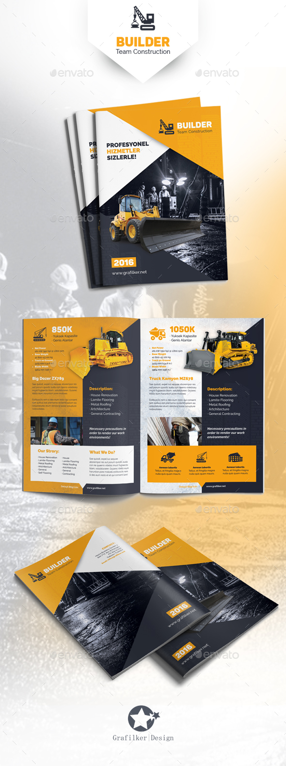 Construction Brochure Templates By Grafilker GraphicRiver - Construction brochure templates
