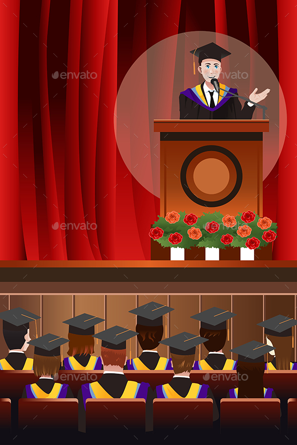 Graduating Man Giving a Speech - People Characters