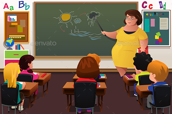 Teacher Teaching  in a Classroom - People Characters