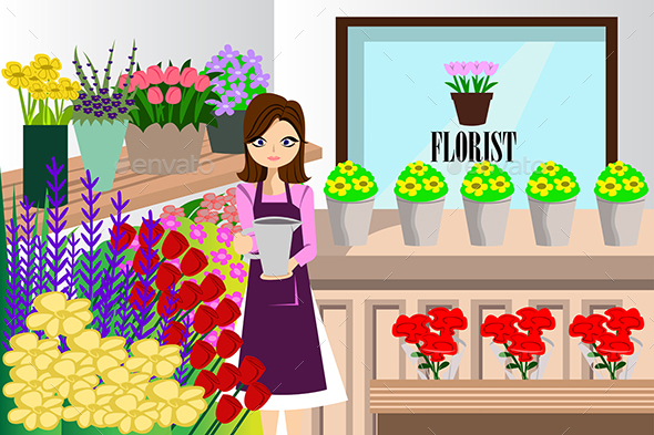 Florist Working with Bunch of Different Flowers - Retail Commercial / Shopping