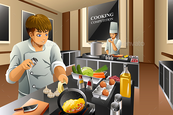 Chef in Cooking Competition - People Characters