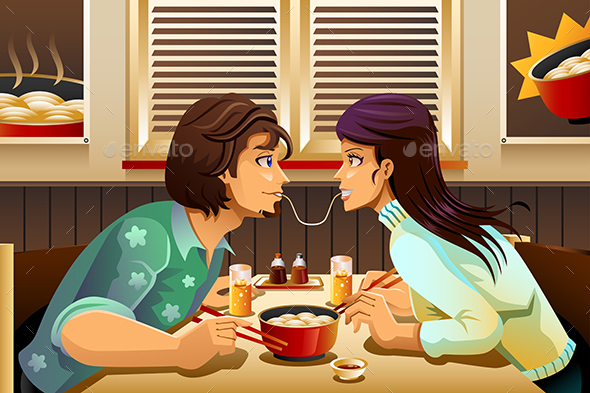 Couple Eating Noodle - People Characters