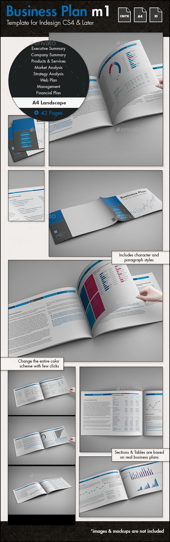 Business Plan Template m1 - A4 Landscape - Proposals & Invoices Stationery