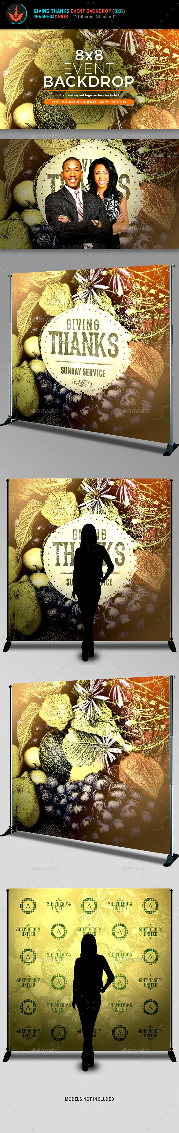 Giving Thanks 8x8 Event Backdrop Template - Signage Print Templates