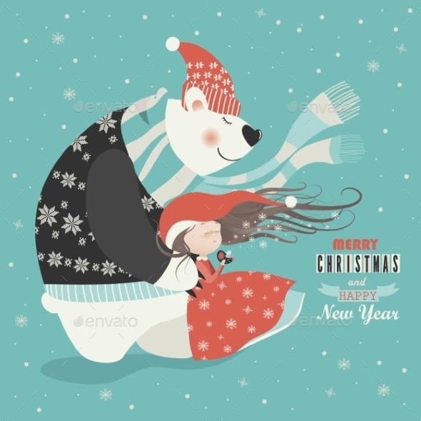 Cute Girl With Polar Bear - Christmas Seasons/Holidays