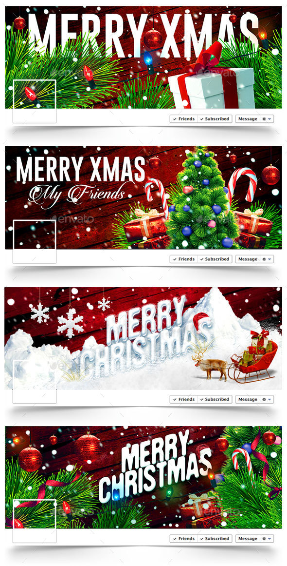 Christmas Facebook Covers - 4 Designs - Facebook Timeline Covers Social Media
