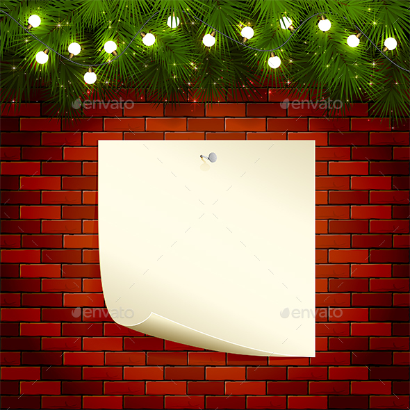 Wall Lights On Brick : Christmas Lights and Paper on Brick Wall by losw GraphicRiver