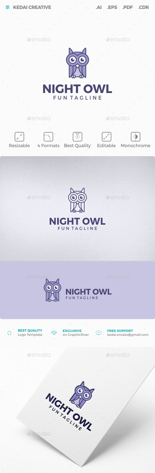 Night Owl - Animals Logo Templates