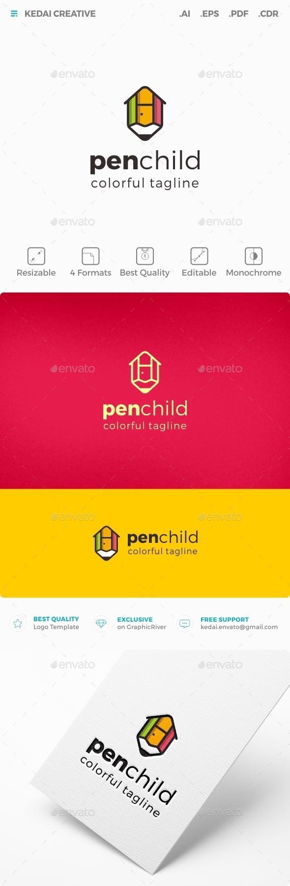 Pen Child - Symbols Logo Templates