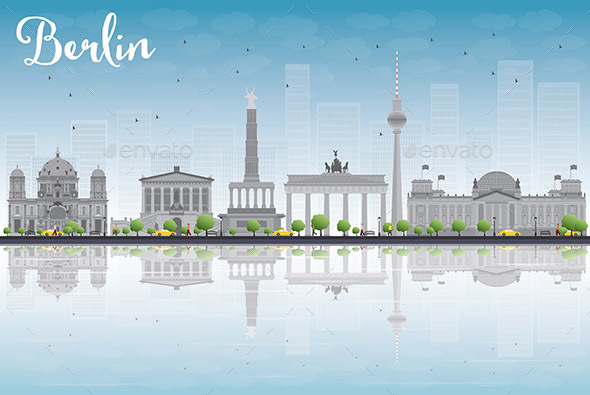 Berlin Skyline with Gray Buildings - Buildings Objects