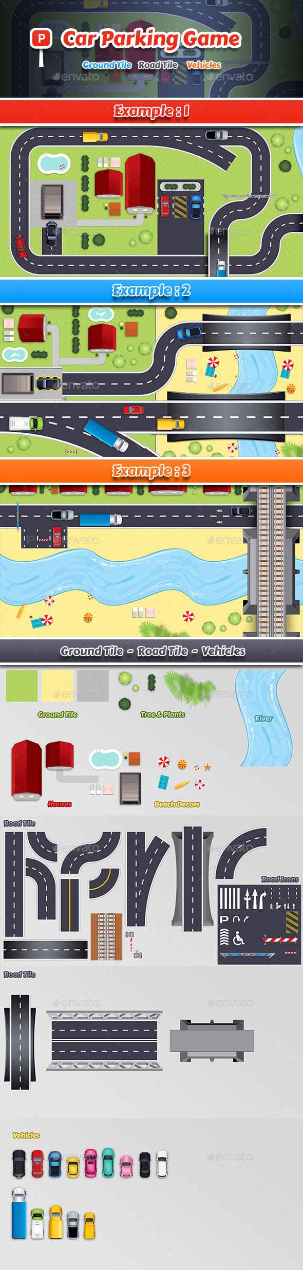 2D Car Parking Game Tile - Game Kits Game Assets