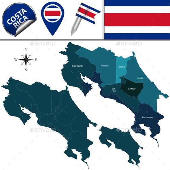 Map of Costa Rica - Travel Conceptual