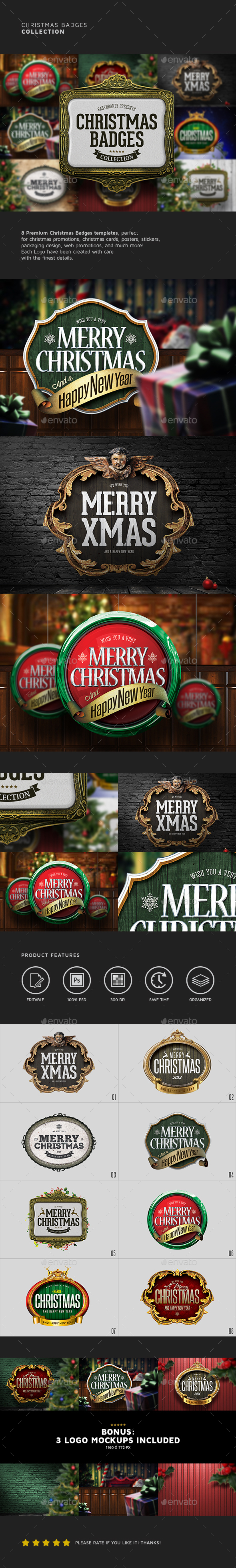 Christmas Badges Collection - Badges & Stickers Web Elements