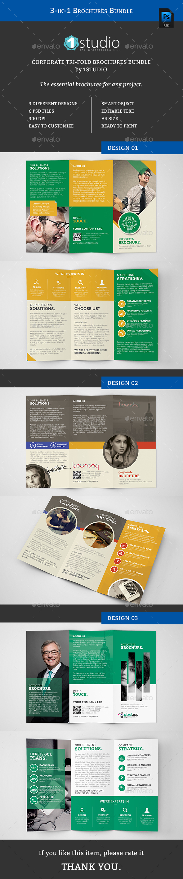 3-in-1 Brochure Bundle - Brochures Print Templates