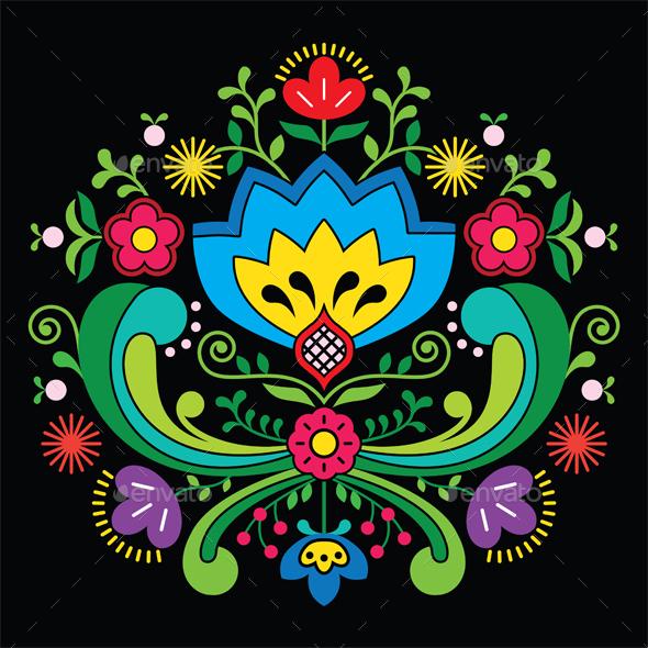 Norwegian folk art Bunad pattern - Rosemaling style - Backgrounds Decorative